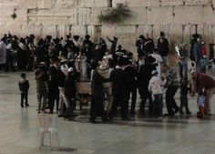 Israel - The Western Wall at Simchat Torah in Jerusalem