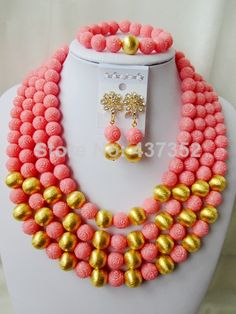 Gorgeous Nigerian Bead Necklaces Wedding Artificial Beads Jewelry Set African Coral Beads Jewelry Set CWS1114 $88.84