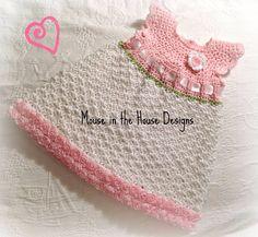 Crochet baby dress, 0-3M