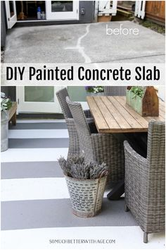 DIY Painted Concrete Slab - How to Paint Stripes Like an Outdoor Rug on Patio Concrete Slab Outdoor Rugs, Outdoor Living, Outdoor Decor, Outdoor Spaces, Outdoor Paint, Outdoor Ideas, Painting Concrete, Diy Painting, Concrete Slab Patio