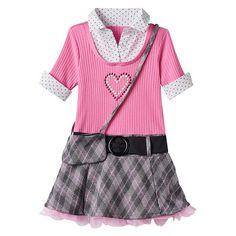 Toddler Girl Beautees Mock-Layered Plaid Skirt Dress with Crossbody Purse