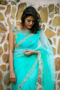 Powder Blue And Sea Green Shaded Net Saree With Patterned Blouse Blouse Back Neck Designs, Silk Saree Blouse Designs, Fancy Blouse Designs, Blouse Patterns, Net Saree Blouse, Latest Saree Blouse, Saree Dress, Net Saree Designs, Blouse Designs Catalogue