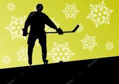 Télécharger - Les joueurs de hockey des hommes jeunes actifs sport silhouettes dans la glace en hiver — Illustration #41114551