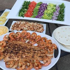 BUILD YOUR OWN BBQ TACO STATION (Grilled Shrimp, Salmon, BBQ Chicken, Scallions, Tomatoes, Avocados, Cabbage, Lettuce, Grilled Pineapples,Red Onions, and Cilantro).