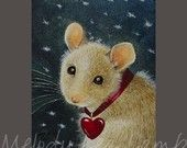 Valentine Mouse Miniature Art by Melody Lea Lamb ACEO