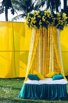 Looking for Mehndi photobooth idea with yellow and blue theme? Browse of latest bridal photos, lehenga & jewelry designs, decor ideas, etc. Wedding Stage Backdrop, Wedding Hall Decorations, Desi Wedding Decor, Backdrop Decorations, Bride To Be Decorations, Wedding Reception, Backdrops, Mehndi Stage Decor, Mehendi Decor Ideas