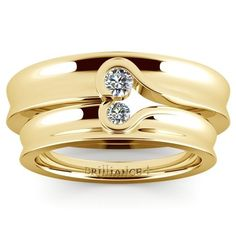 Matching Bezel Heart Concave Diamond Wedding Ring Set in Yellow Gold www.brilliance.co...