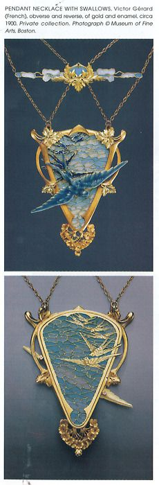 Victor Gérard 1900 Pendant Necklace w/Swallows. Private collection. (Frequently attributed to Lalique)