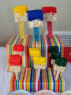 Art party - paintbrush Rice Krispie pops...Love how they cover d boxes!! Great idea!! John Deere colors...
