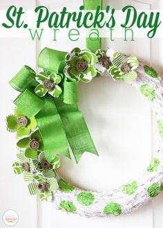 St. Patrick's Day Wreath - These handmade foam and fabric shamrocks are so fun!