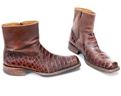 80356d4dde11 US size 9 Reptile Print Vintage 90s Boots for Men Side Zip Leather Ankle  Boots Western Style Extravagant Exotic Boots . Eur 43 UK 8.5