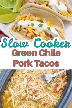 These Slow Cooker Green Chile Pork Tacos are a true family favorite and they feed a crowd! Easy to prepare in your slow cooker! Make as a freezer meal too! Slow Cooker Freezer Meals, Slow Cooker Recipes, Cooking Recipes, Pork Tacos, Feeding A Crowd, Soul Food, Chile, Main Dishes, Food Ideas