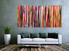 Abstraktes Wandbild Acryl modern bunt 100x200cm von xxl-art.de