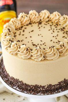 Kahlua Coffee Chocolate Layer Cake - moist, soft chocolate cake with Kahlua coffee frosting! So good!