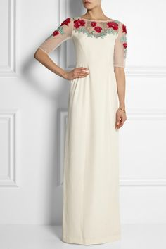 my dream dress would have roses embroidered into the neckline and sleeves like this