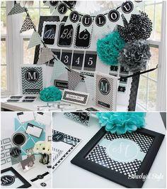 Turquoise, Black, & Gray classroom theme from Schoolgirl Style