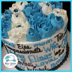 Blue, Black, and White Buttercream Floral Expressions Birthday Cake