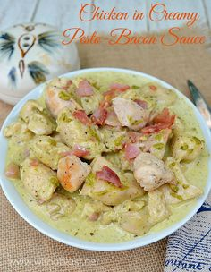 Chicken in Creamy Pesto-Bacon Sauce
