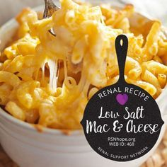 Low Salt Macaroni and Cheese Everyone's favorite comfort food is just as delicious without all the sodium. This low salt macaroni and cheese recipe is guaranteed to satisfy! Sodium Free Recipes, Salt Free Recipes, Low Potassium Recipes, Low Sugar Recipes, Healthy Recipes, Diet Recipes, Davita Recipes, Recipes Dinner, Healthy Cooking