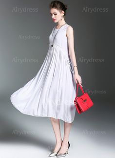 Dress - $28.21 - Cotton Linen Solid Sleeveless Mid-Calf Casual Dresses (1955138461)