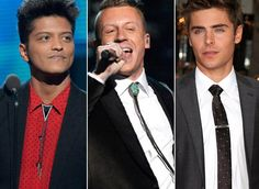 Bruno Mars, Macklemore and Zac Efron are Stylish in Bolo Ties and Black-Tie Tie Clip
