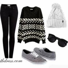 Black and grey outfit.
