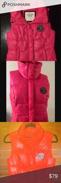 Abercrombie & Fitch Down Addison Vest, Red, S Abercrombie & Fitch Down Addison Vest  Red  Small  100% polyester outer, feather down insulated for warmth, quilted, high mock neck collar, zip and snap closure for dual protection against the elements, pockets, soft lining, logo embroidered patch, Classic Fit.  Pre-loved in excellent condition. Like new. See my feedback for buyer confidence.  Retail $118  NO TRADES 🚫 Make me an offer ✅ Abercrombie & Fitch Jackets & Coats