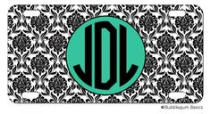 Damask Initials Monogram #License #Plate, $18.00 (http://www.bubblegumbasics.com/damask-initials-monogram-license-plate.html)