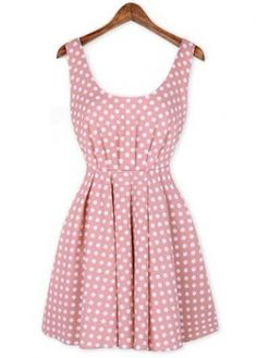Polka Dot Print Dress with Bow Back