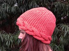 Women's beanie hat with cable trim.  Women's by LaVieBoeretroos, $14.00
