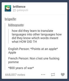 """31 Clever Language Posts For The Cunning Linguists - Funny memes that """"GET IT"""" and want you to too. Get the latest funniest memes and keep up what is going on in the meme-o-sphere. History Jokes, Funny History, Tumblr History, Funny Quotes, Funny Memes, Hilarious Jokes, Hilarious Animals, 9gag Funny, Memes Humor"""