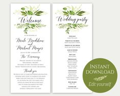 Please note that this is a digital EDITABLE program download only, no physical product will be shipped.  Beautiful greenery design paired with modern script font for an absolutely stunning look!  YOU WILL RECEIVE: ♥ 4x9 Wedding program sheet (2 per 8.5x11 page) ♥ 4x9 Wedding party sheet (2 per 8.5x11 page) ♥ Instruction guide  1. Purchase the listing and download your file(s). 2. Open the editable PDF in Acrobat Reader. (Free download: www.get.adobe.com/reader) 2. Edit the highlighted te...