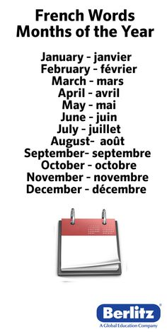 French Words for the Months of the year...<3