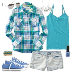 Summer Camp Style ❤ liked on Polyvore featuring blue cami and blue camisole