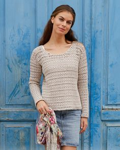 Crocheted sweater with openwork pattern. Charming model of a female sweater, crocheted mm from m Crochet Cardigan, Knit Crochet, Crochet Tops, Stitch Patterns, Crochet Patterns, Cotton Lights, Crochet Clothes, Sweaters For Women, Bell Sleeve Top