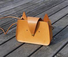 Vegetable tanned leather crossbody bag fox shoulder bag animal cute fox top grain leather minimalist handbag