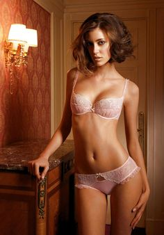 Pink Lacy #Lingerie - Semi Sheer Demi Cup Bra & Sexy Ruffled Hipster Bikini