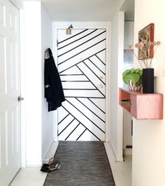 Remember a little while ago when I walked you through the gruelling instructions for this DIY Graphic Tape Door Painted Bedroom Doors, Painted Doors, Home Design, Wall Design, Washi Tape Door, Tape Wall Art, Diy Door, New Room, Designer