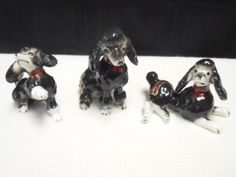 3 VIntage Bone China Black Poodles Miniature Puppy Dogs Red Bow