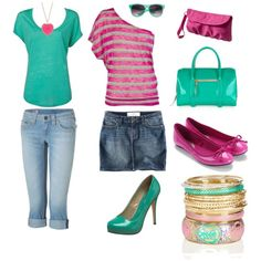 pink & turquoise, obviously the shorts would be longer and the pink shirt w/a cardi