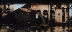 "Long Island Railroad 23"" X 50"" oil on panel - Kim Cogan"