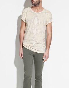 drooling over this shirt!!!! #need #fashion SNAKE T-SHIRT - T-shirts - Man - ZARA United States