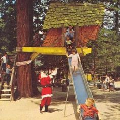 Santa's Village ~ Scotts Valley, Calif.  1957 - 1979.  Located Near & Often Advertised As Being Located In Santa Cruz.  Tree House Slide!