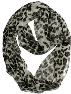 VODO Women's 100% Italian Silk Chiffon Infinity Scarf Medium Grey