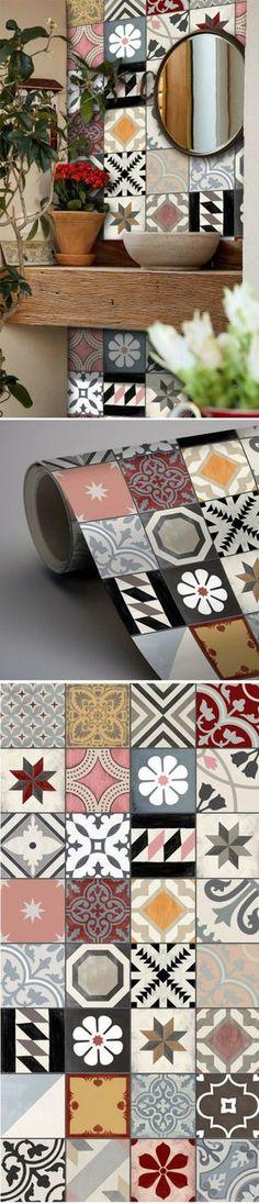 Du papier peint adhésif qui imite le look des carreaux de ciment http://www.homelisty.com/papier-peint-adhesif-autocollant/