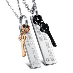 """NEW Fashion 2PCS His and Hers Titanium Steel Key CZ Pendant With """"THANK YOU FOR BEING BESIDE ME"""" Phrase, Link Chain Necklace Set With Silver Chain Couples Jewelry Valentines Gifts"""