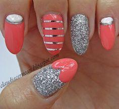 Coral Nails with glitter polish, moon nails, stripes #nailart #polish #manicure - See more nail looks at bellashoot.com & share your faves!