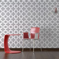 Square Plus Allover - Small scale - reusable stencil patterns for walls just like wallpaper - DIY decor. $39.95, via Etsy.