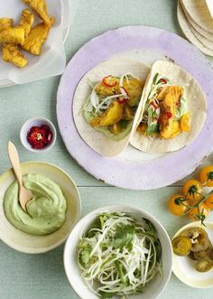 Spicy fish taco with cabbage 'slaw and avocado dressing ( great summer meal)