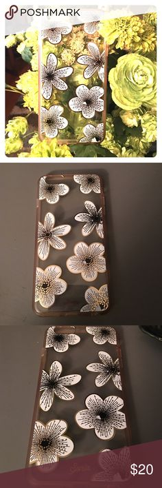 iPhone  6s Plus Hardshell Case by Sonix Barely used Sonix brand hardshell iPhone 6s Plus case featuring lovely 5 petal white flowers. The clear case has a rose gold tint on the edges . Lovely and functional- protective case Other